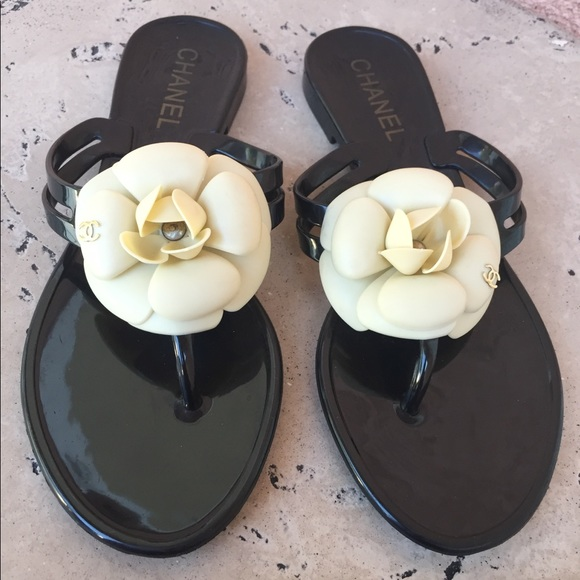6fae4ab61534 CHANEL Shoes - Chanel Black Jelly Flats Camellia Flower Size 37